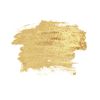 Abstract hand drawn luxury golden stain, isolated on white background. gold metal texture. concept of wedding, holiday, birthday, christmas.