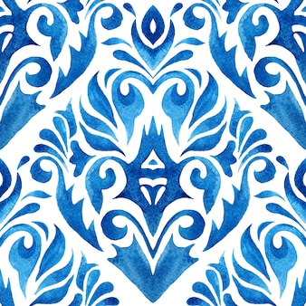 抽象的な手描きの水彩タイルのシームレスな装飾パターン。ダマスク花柄