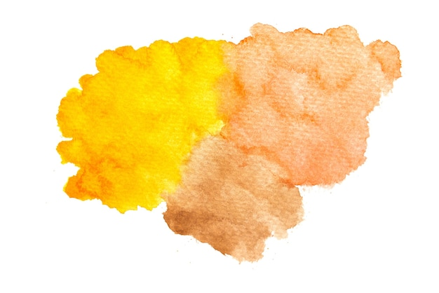 Abstract hand painted yellow, orange and brown watercolor.