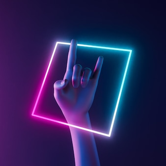 Abstract hand with rock and roll gesture and neon box around illuminating. music concept. 3d render