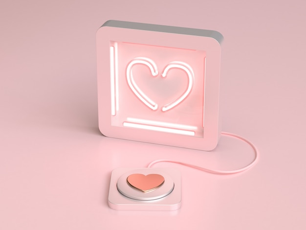 Abstract heart neon light and button love valentine concept 3d rendering