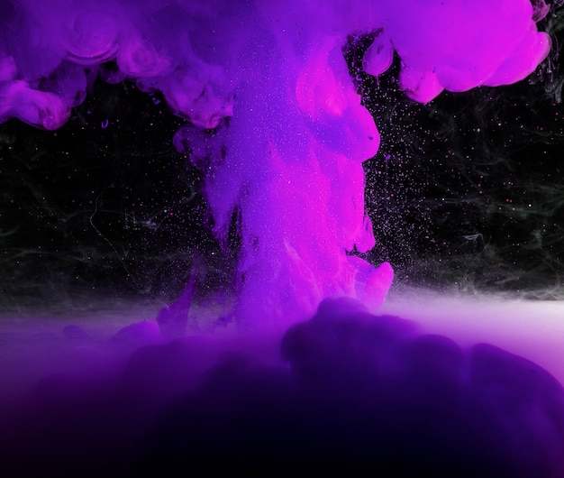 Abstract heavy purple fog in darkness