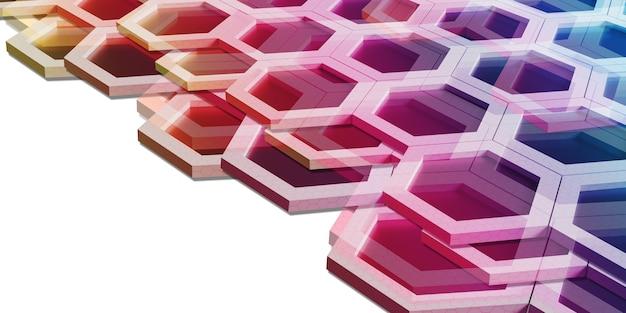 さまざまな色の抽象的な六角形レインボーハニカム壁技術背景3dイラスト