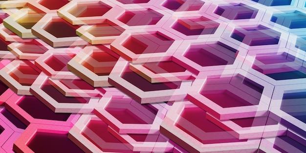 다양 한 색상의 추상 육각 무지개 벌집 벽 기술 배경 3d
