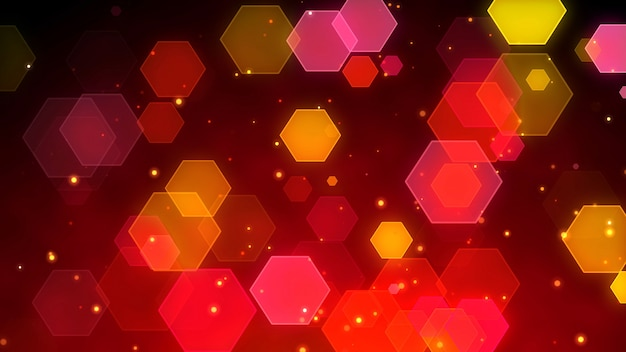 Abstract hexagon particles bokeh