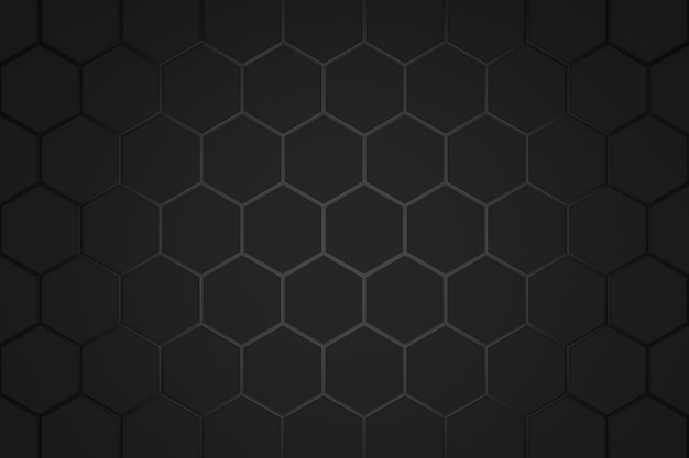 Abstract hexagon pattern on dark background with futuristic concept.