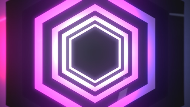Abstract hexagon pink neon frame.
