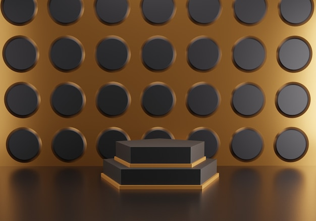 Abstract hexagon podium on black circle pattern background.