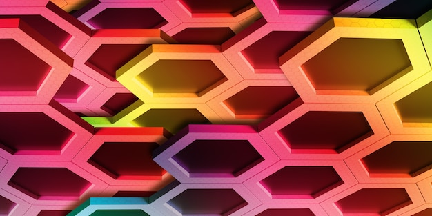 Abstract hexagon of various colors rainbow honeycomb wall technology background 3d illustration