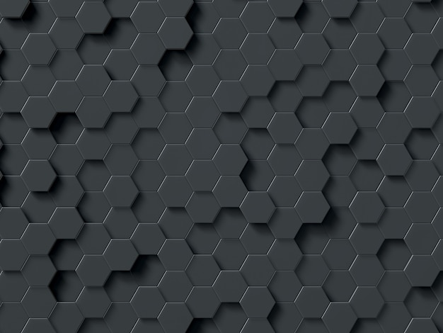 Abstract hexagons gray 3d rendering geometric polygons