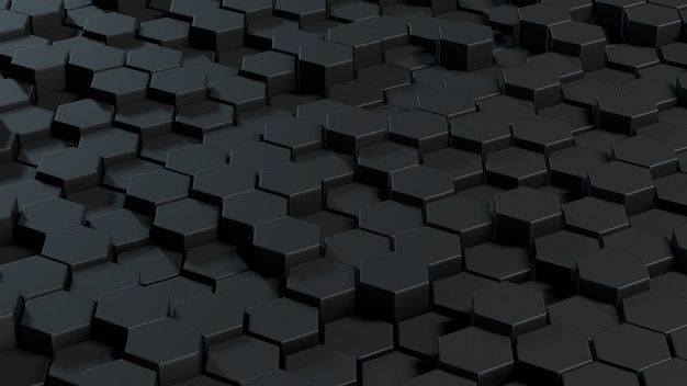 Abstract hexagons gray background. 3d rendering geometric polygons.