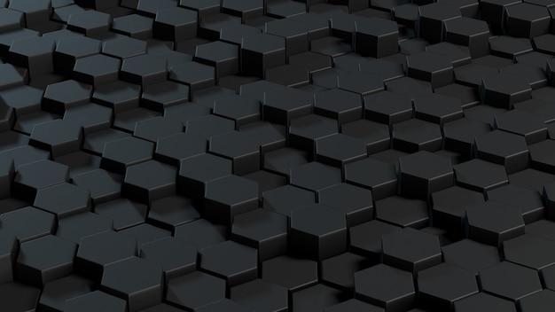 Абстрактный шестиугольники серый фон. 3d-рендеринг геометрических полигонов.