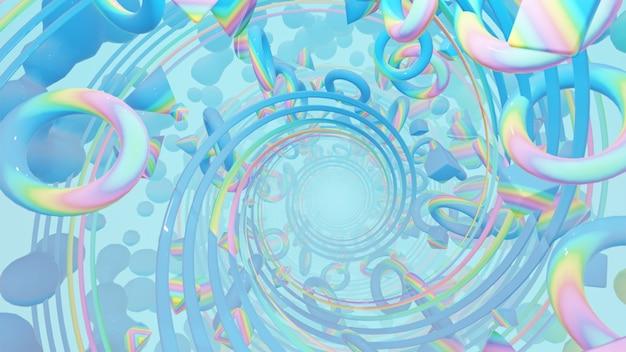 Абстрактная голографическая геометрия с радиальными кругами в ретро и голографической сцене 80-х