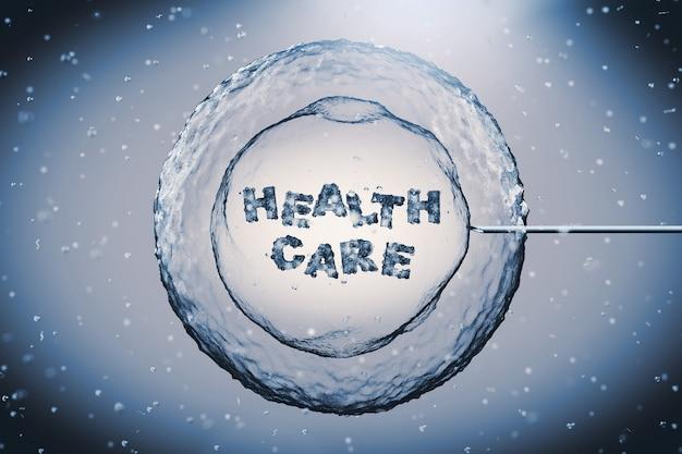 현미경 극단적인 근접 촬영에서 건강 관리 기호와 튜브 바늘과 추상 인간의 세포. 3d 렌더링
