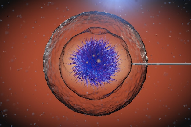 현미경 극단적인 근접 촬영에서 튜브 바늘과 추상 인간의 세포. 3d 렌더링