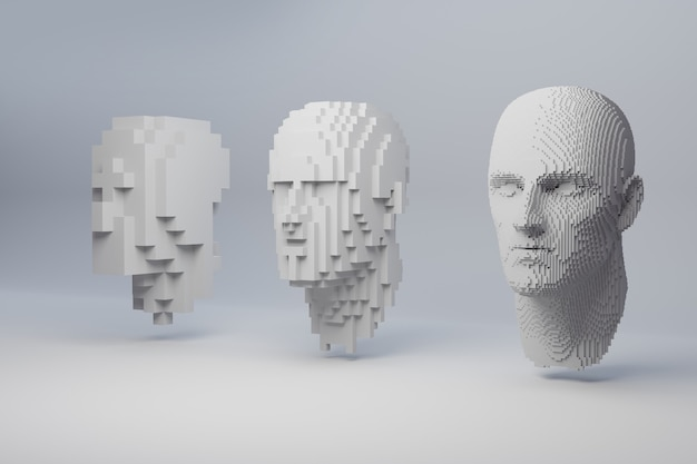 Абстрактное человеческое лицо на сером фоне