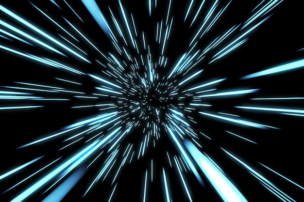 Abstract hyper jump in space