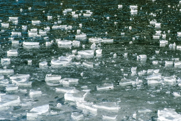 Abstract ice background with cracks on the ice surface