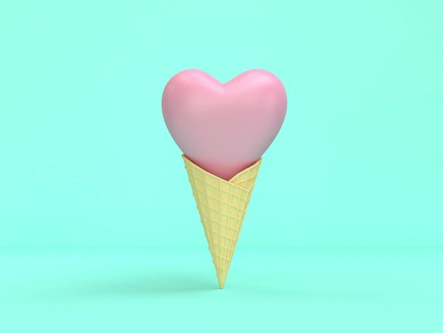 Абстрактный конус мороженого розовое сердце минимальный зеленый 3d-рендеринга