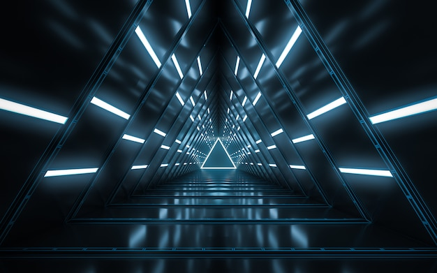 Abstract illuminated empty corridor interior design