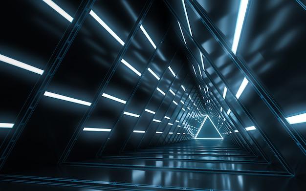 Abstract illuminated empty corridor interior design