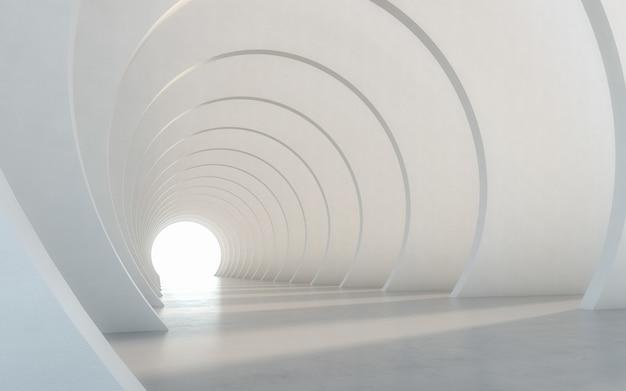 Abstract illuminated empty white corridor interior design. 3d rendering.