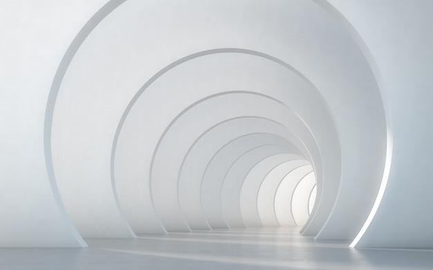 Абстрактный освещенный пустой белый дизайн интерьера коридора. 3d-рендеринг.