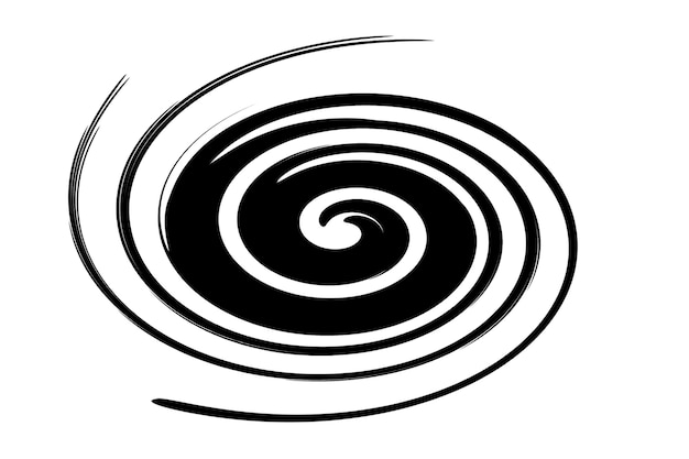 Abstract illustration of a black vortex on a white background.