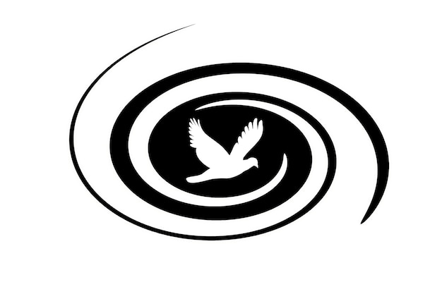 Abstract illustration of a black whirlwind and a bird on a white background