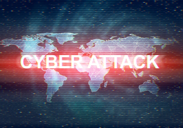 Abstract illustration of distorted dark blue display screen with red light spot. cyber attack inscription in worldwide technology interface.