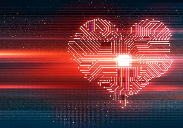 Abstract illustration of distorted display screen. heart shaped cpu processor. glitch effect.