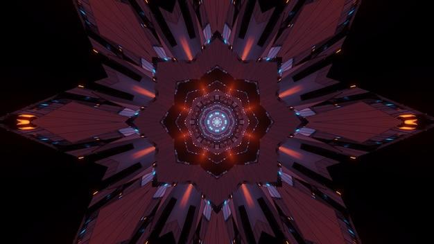 Illustrazione astratta di un'arte frattale con sfondo di luci al neon