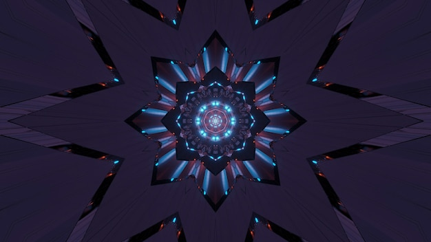 Abstract illustration of a fractal art with neon lights - great for backgrounds and wallpapers