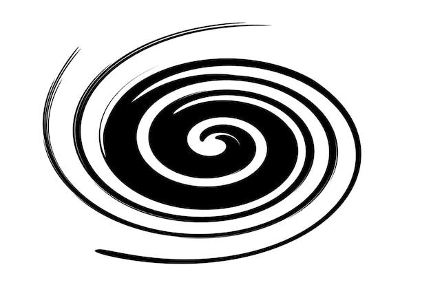 흰색 배경에 검은 소용돌이의 추상 그림.