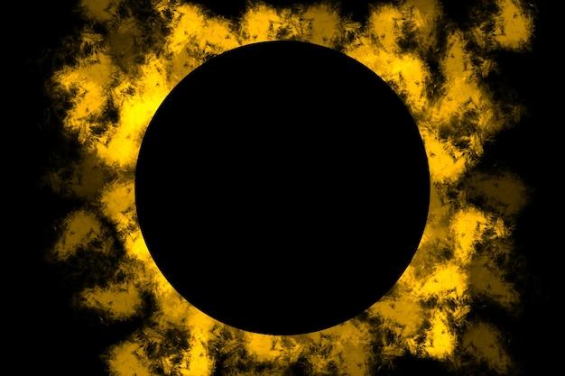 黒い円で煙のロゴの背景の抽象的なイラスト