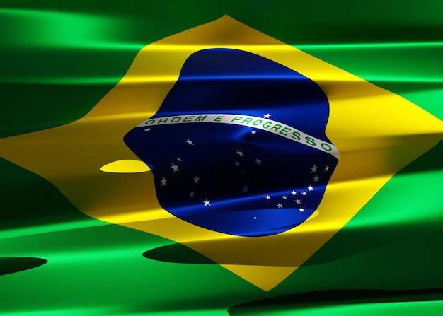 暗い環境で光の反射と波状の生地でブラジルの国旗の抽象的なイラスト