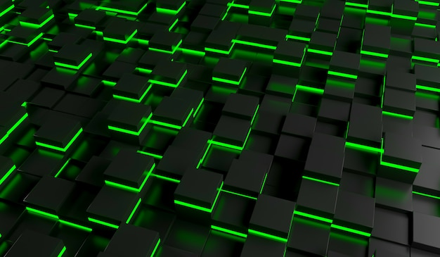 Abstract image of cubes background in green light. 3d rendering illustration