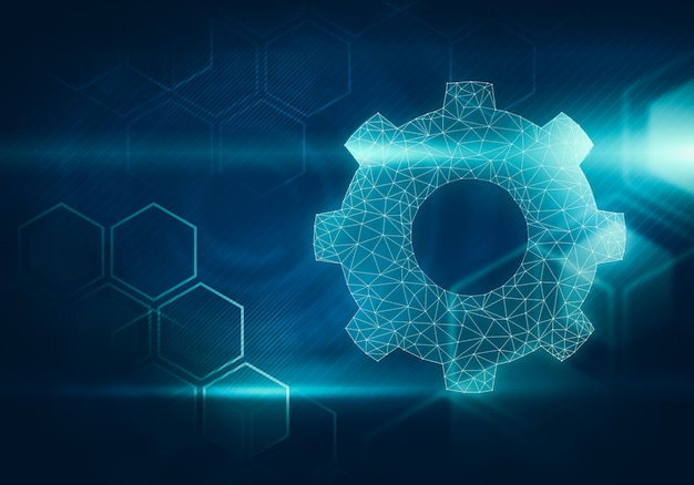 Abstract image of gear shaped network on hexagonal background