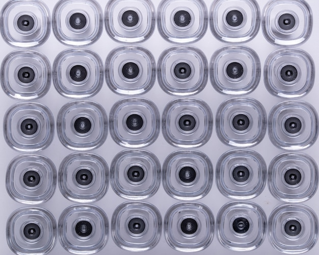 Abstract image of medical plastic and steel product part , made from injection molding machines