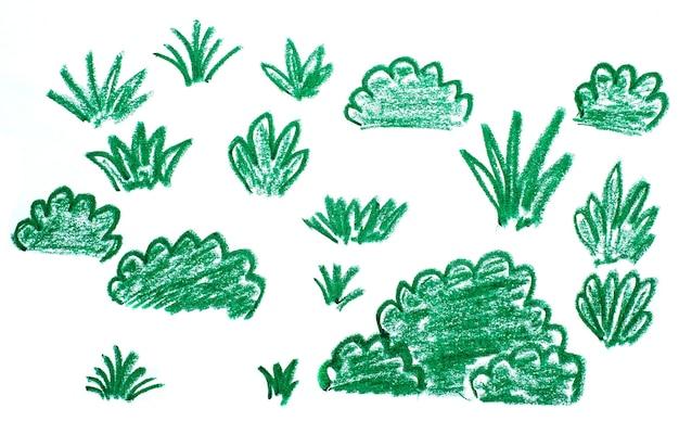 풀과 같은 모양의 추상 이미지, 크레용 낙서 텍스처. 손으로 그린 크레용