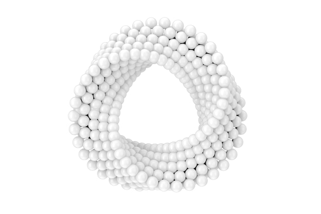Abstract impossible white balls loop circle shape cross cap on a white background. 3d rendering