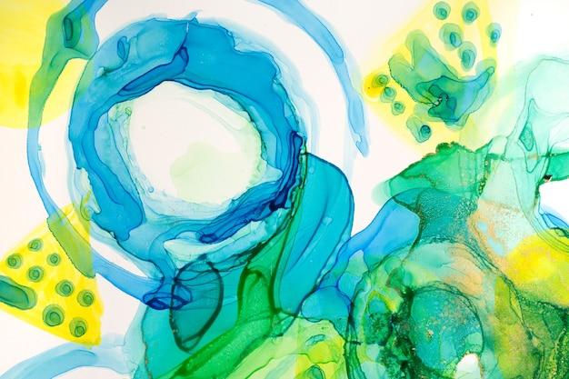 Абстрактные чернила синие зеленые и желтые акварельные чернила круглый фон спиртовые чернила