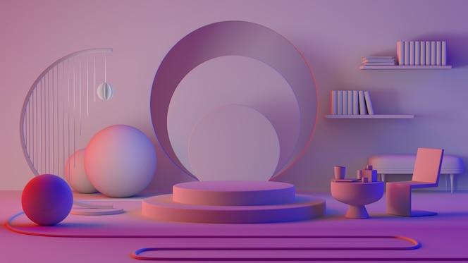 抽象的室内公寓客厅与讲台显示或展示产品