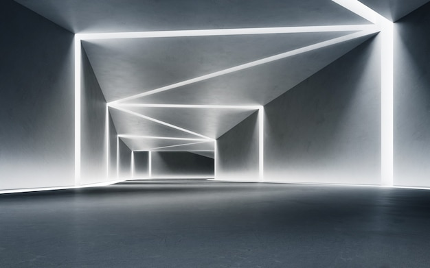 Abstract interior design 3d rendering of modern showroom with concrete corridor background