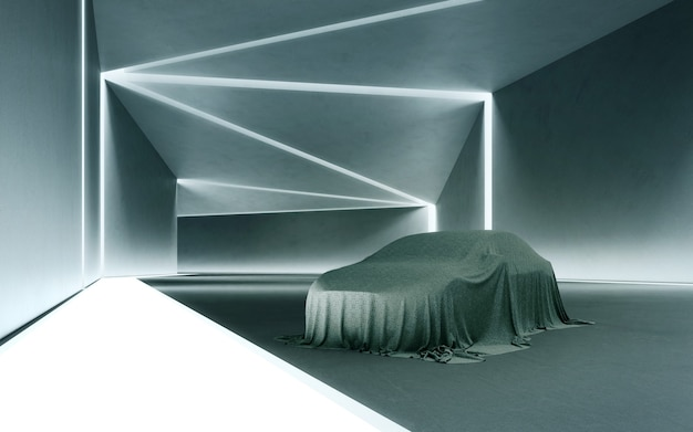 Abstract interior design 3d rendering of a new car covered with a cloth on the concrete floor