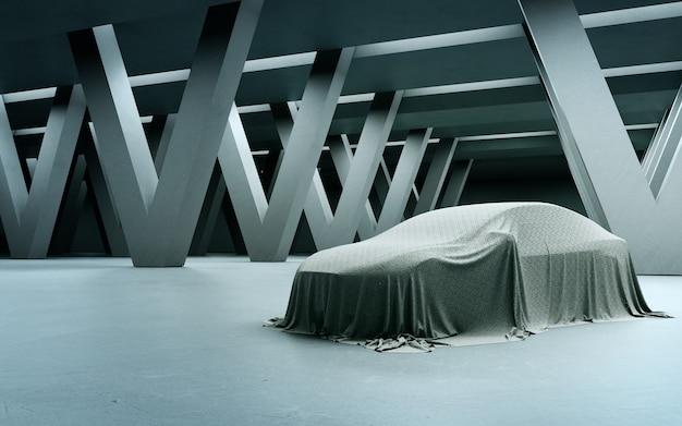 콘크리트 바닥에 천으로 덮인 새 자동차의 추상 인테리어 디자인 3d 렌더링