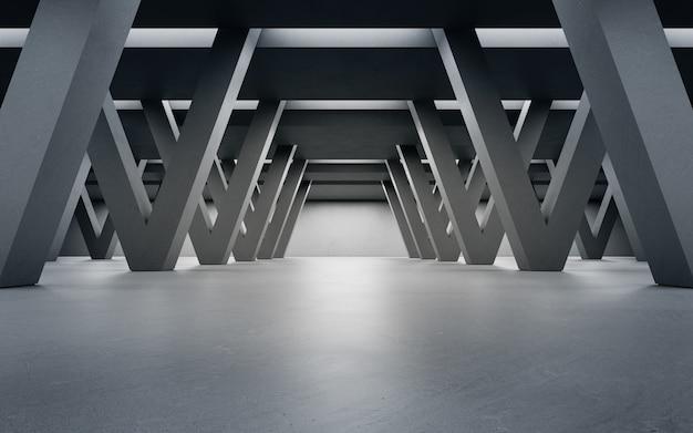 Абстрактный дизайн интерьера 3d-рендеринга современного выставочного зала с бетонным фоном коридора