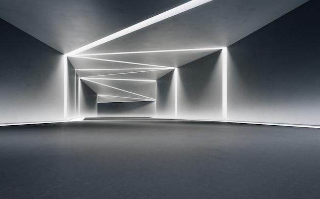 コンクリートの廊下の背景を持つモダンなショールームの抽象的なインテリアデザイン3dレンダリング