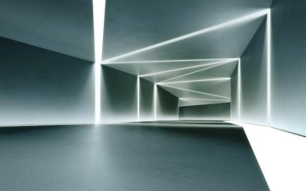 콘크리트 복도 배경으로 현대 쇼룸의 추상 인테리어 디자인 3d 렌더링
