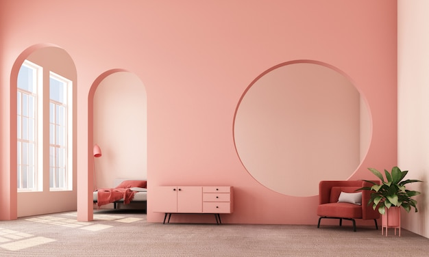 Abstract interior design living area and bedroom with architectural elements in pink tone